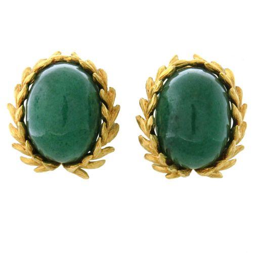 David-Webb-Gold-Aventurine-Earrings