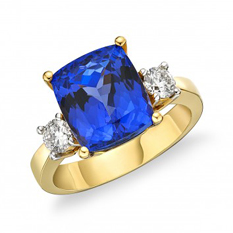 """Sophia"" Tanzanite and Diamond 18K Yellow Gold Ring"