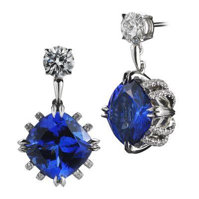 Alexandra-Mor_Cushion-Cut-Tanzanite-Diamond-Earrings_RGB_White-BG_Front