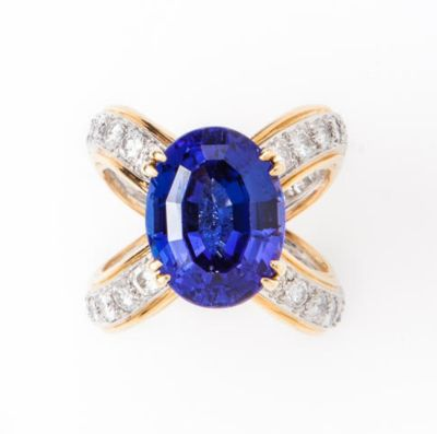 A-tanzanite-and-diamond-ring-attributed-to-Donald-Claflin-for-Tiffany-Co.