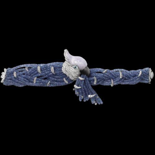 Cartier-Flora-Fauna-Bracelet-Platinum, lavander jade, tanzanite beads, obsidian beak, aquamarine eyes, brilliants