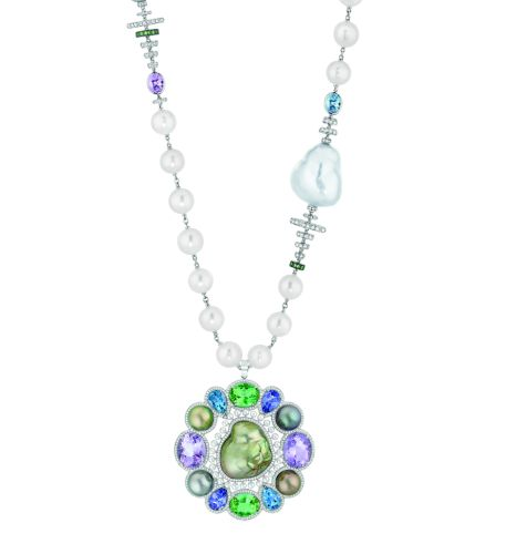 "Chanel – Les Perles de Chanel – ""Perles Baroque"" necklace in white gold, diamonds, sapphires, amethysts, tourmalines, aquamarines, tanzanites, pearls,"