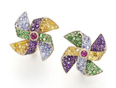 Girouettes earrings -Cabochon Ruby, Tsavorite, Tanzanite, Orange Sapphire, Pink Tourmaline, Amethyst, Diamond set in pink gold