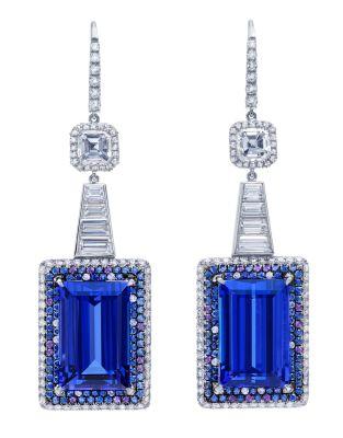 Martin Katz Baguette cut tanzanites, 25.71 carats; diamonds, sapphires, amethysts. 18K white gold