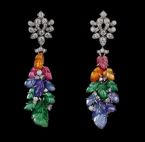 Earrings-Platinum-mandarin-garnets-pink-tourmalines-tanzanites-tsavorite-garnets-yellow-diamonds-brilliants.