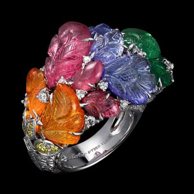 Ring-Platinum-mandarin-garnets-pink-tourmalines-tanzanites-tsavorite-garnets-yellow-diamonds-brilliants.