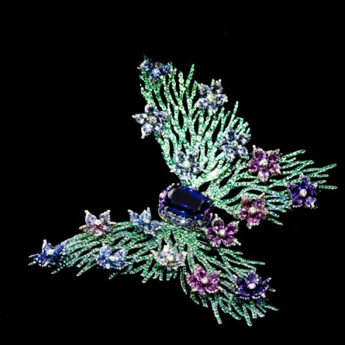 "Wallace Chan ""Fluttery"" Brooch – set with a Tanzanite and diamonds, green garnets and fancy sapphires."