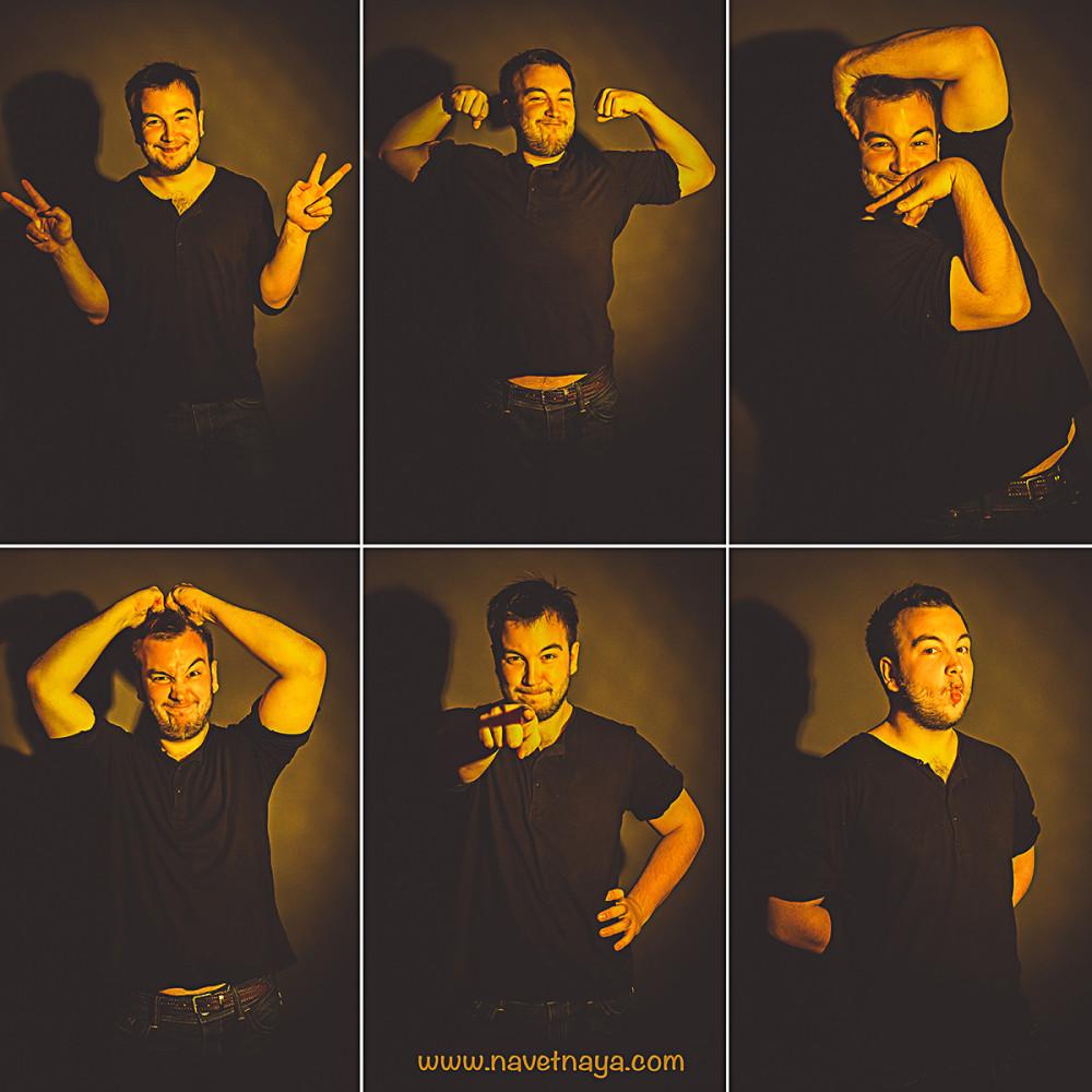 Фотограф Александра Наветная. Мужской портрет. Студийная съемка. Фотографии с эмоциями. Несколько фотографий с разными эмоциями на одном снимке на одной картинке