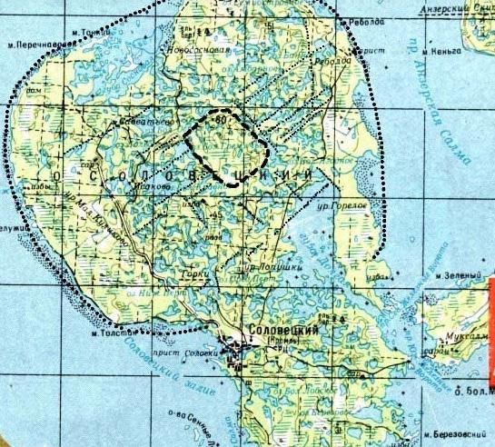 Карта Большого Соловецкого острова