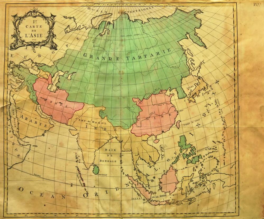 Карта Азии 1754 с изображением Тартарии