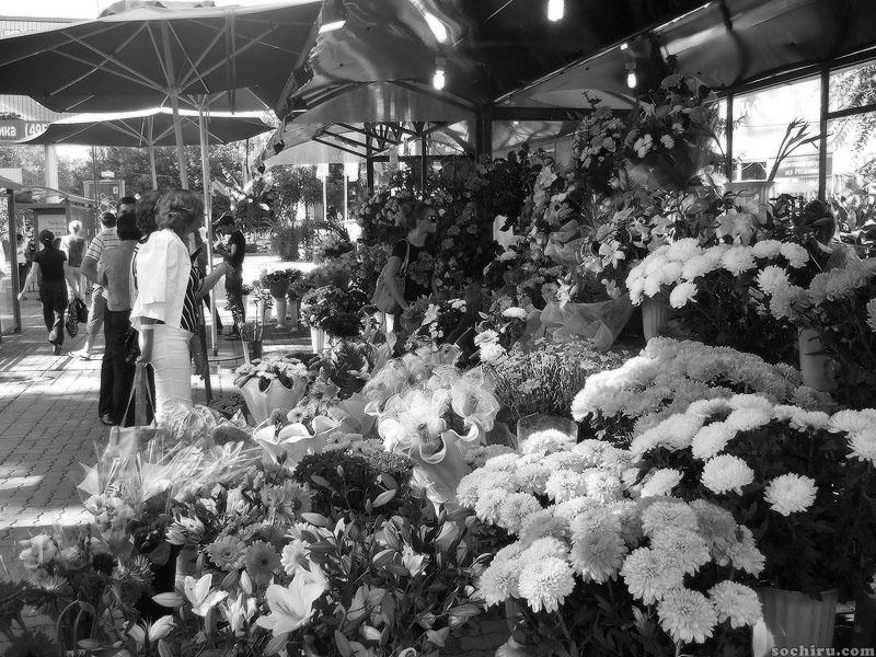 Продажа цветов на улице