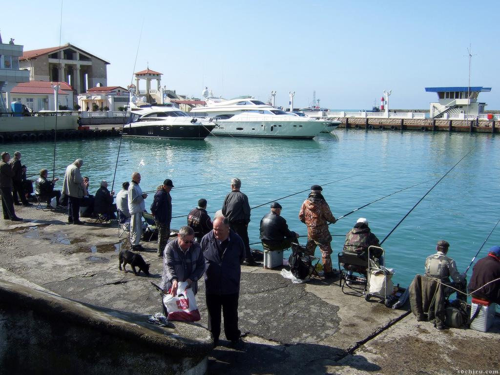 Рыбаки на фоне белоснежных яхт