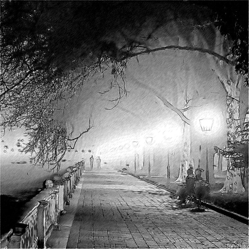 Туманный вечер на набережной Сочи