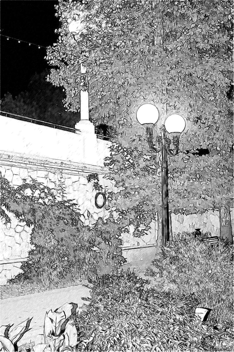 Комсомольский сквер ночью