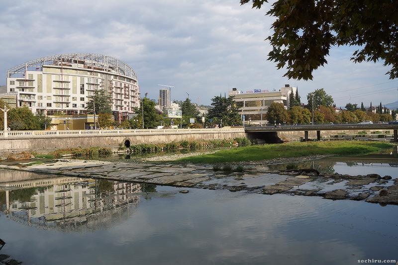 цветущая вода в реке Сочи