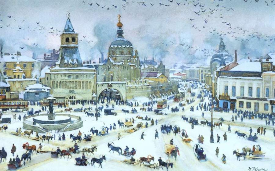 Юон К.Ф. 1905 Лубянская площадь зимой