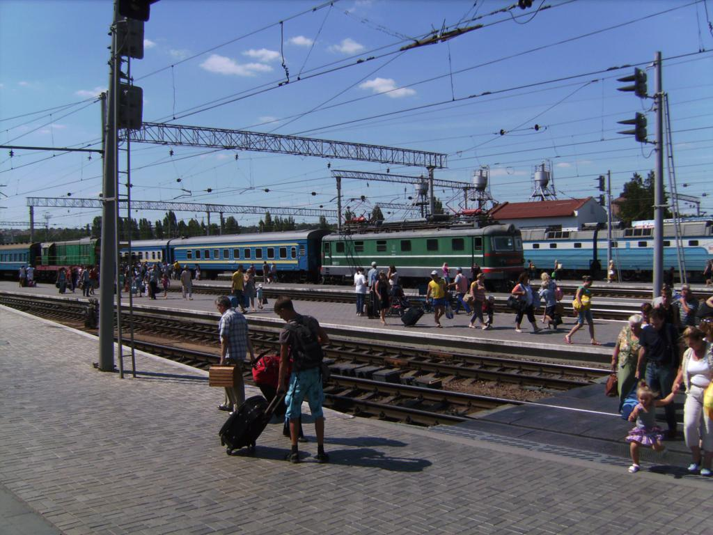 Some old soviet style trains at the station