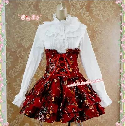 strawberry witch red skirt