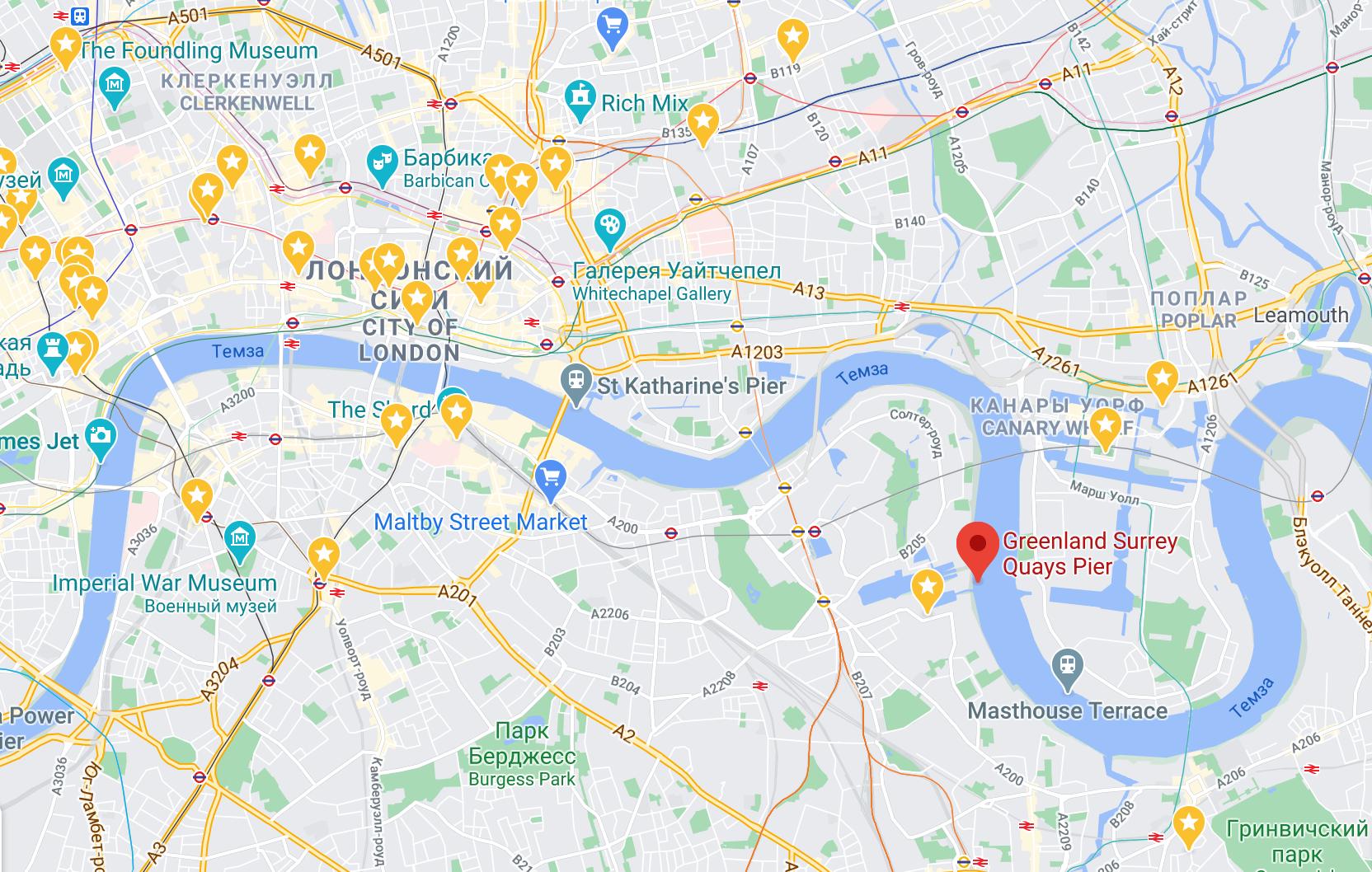 Красная точка —ближайший к съемной квартире причал
