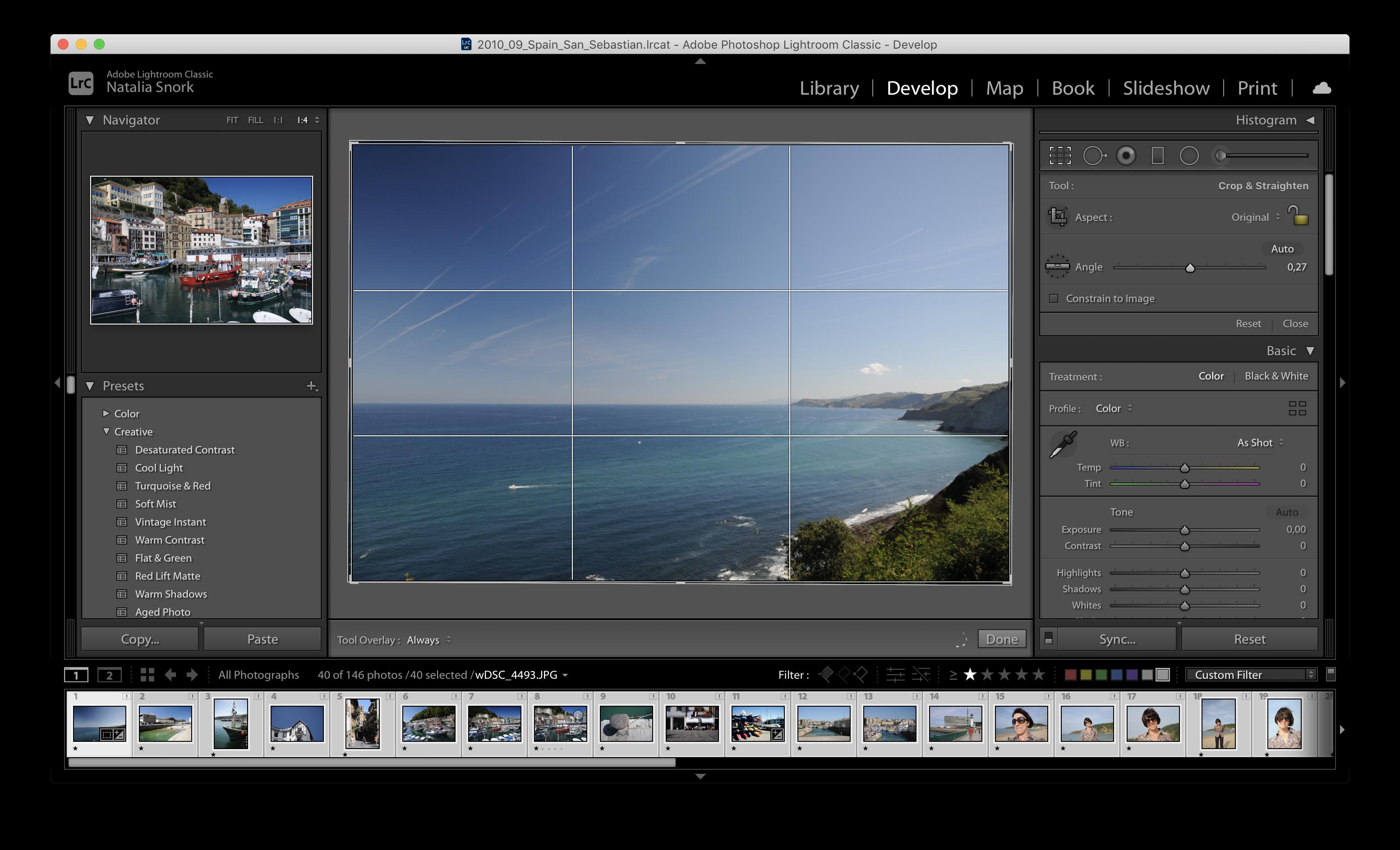 Выравниваю горизонт в Adobe Lightroom
