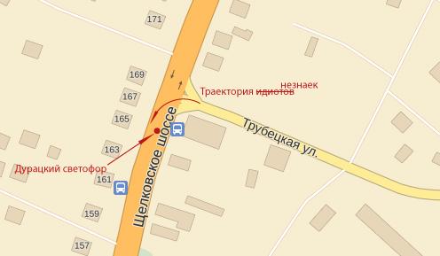 Пересечение Трубецкой и Щелковского шоссе. Схема