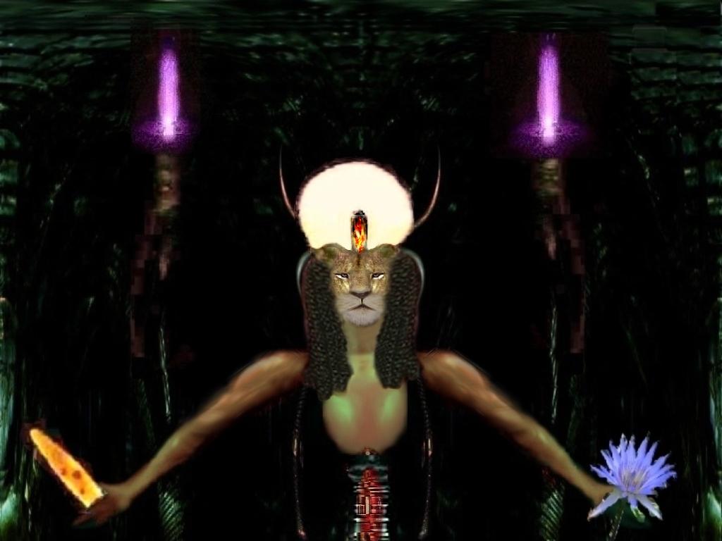 Sekhmet, fire element on statue of cobra.