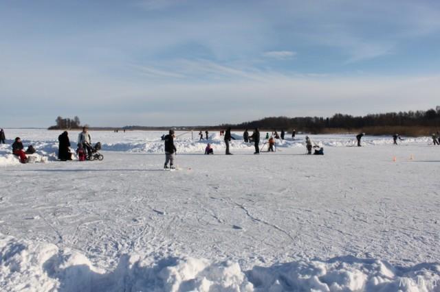 фигуристка на замершем озере
