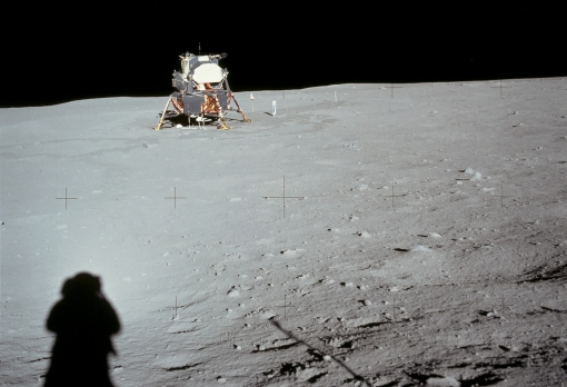 Shade of things to come: Neil Armstrong ventured across the moon's surface on 20 July 1969, marking the start of efforts to claim our near neighbour. Photograph: NASA/New York Times/Redux.