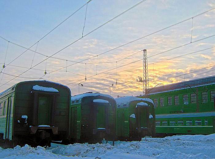 вагоны и закат