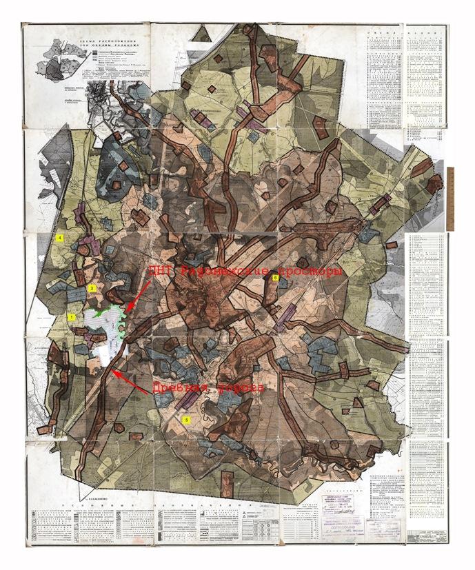 Рисунок 2  ДНТ Радонежские просторы и Древняя дорога на карте охранной зоны 1986 года