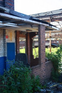 Derelict factory gatehouse