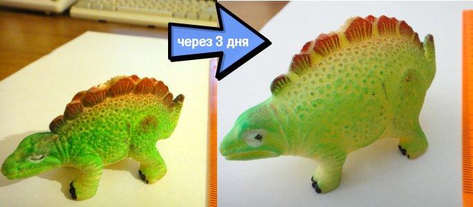 Динозавр из яйца вырастает в 2-3 раза