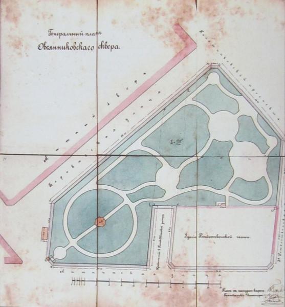 Генеральный план Овсянниковского сквера. 1902 год