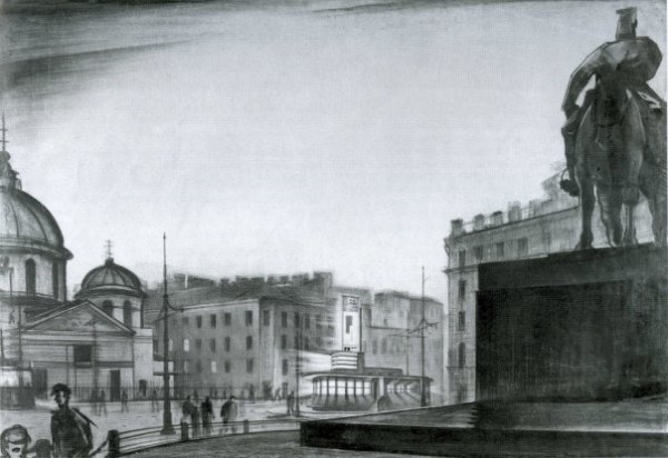 Проект трамвайного павильона, совмещенного с общественной уборной, на пл. Восстания. 1927 год