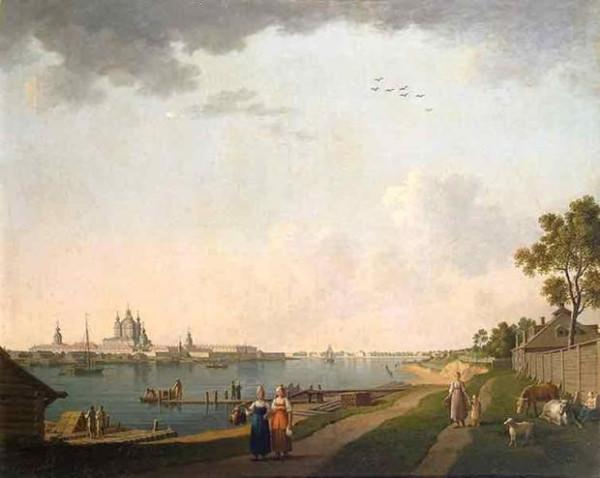 Вид Смольного монастыря со стороны Охты. Б. Патерсен. Ок. 1800