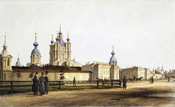 Ф. В. Перро. Вид Смольного монастыря. Акварель, 1841 г.