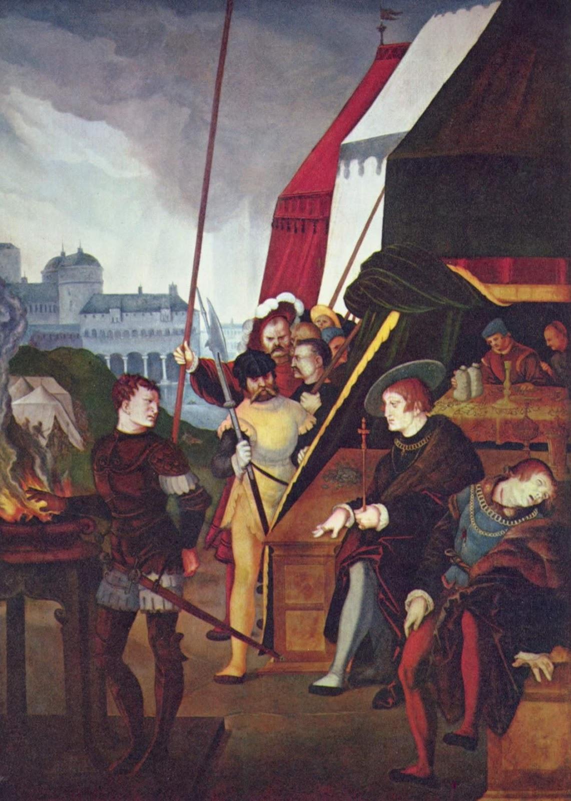 Hans Baldung (1485-1545)-'Mucius Scaevola and Porsenna'- 1531