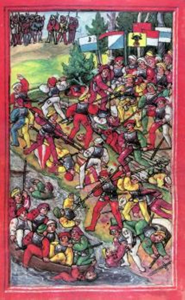 Diebold Schilling the younger (ca 1460-1515)-'battle of Hard, near Bregenz (Austria) in Swabian war (February 20, 1499)'-miniature