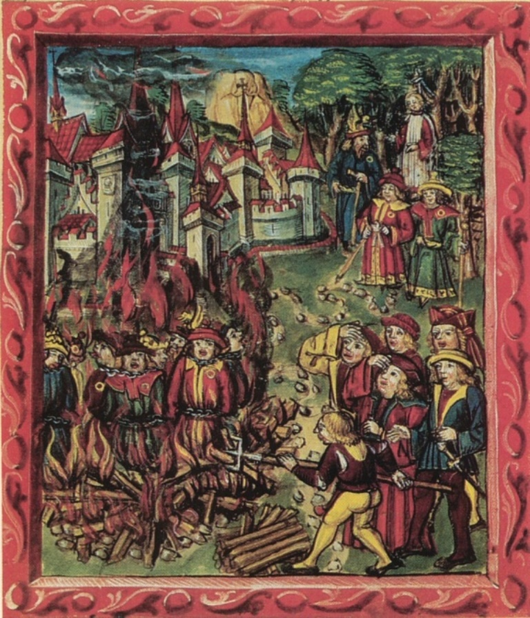Diebold Schilling the younger (ca 1460-1515)-'women and priests retriew the dead bodies of Swabian soldiers just outside the city gates of Constace after the battle of Schwaderlach, Triboltingen (April 11, 1499) '-miniature