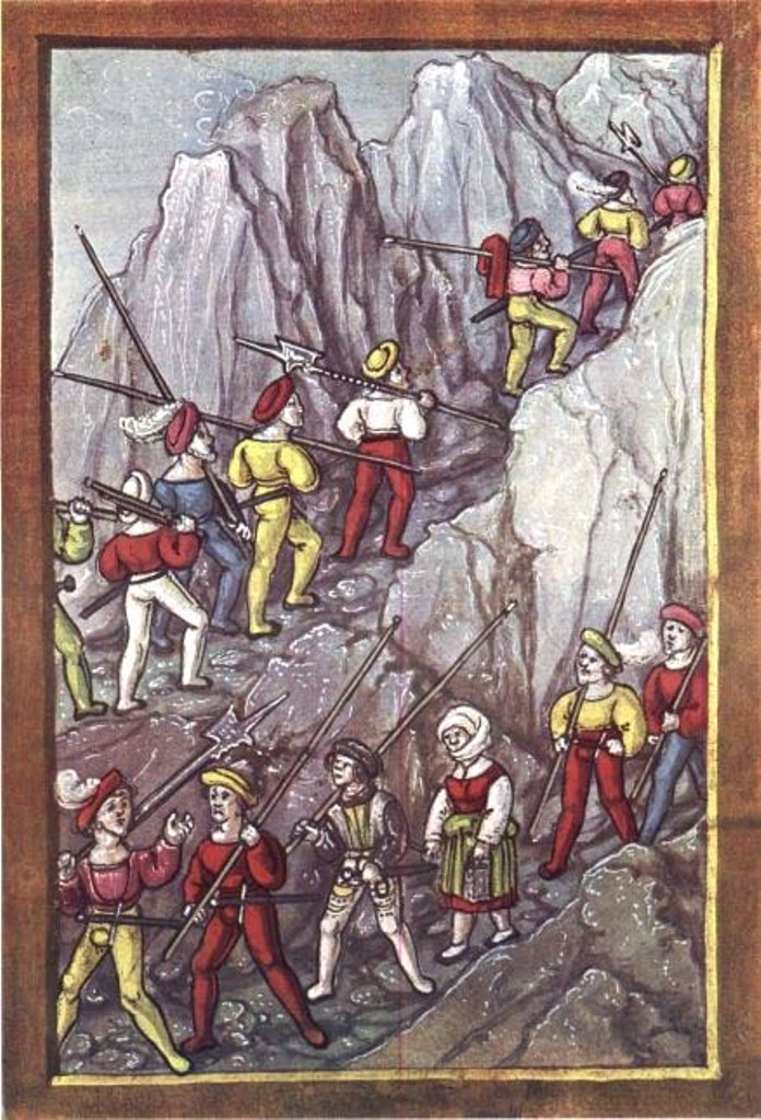 Diebold Schilling the younger (ca 1460-1515)-'Swiss mercenaries crossing the Alps after de conquest of Cremona (1510)'-miniature