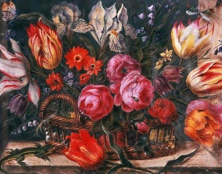 8 17 Jacob Marrel (Dutch Baroque Era Painter, ca.1613-1681)  Flower Study 17th century