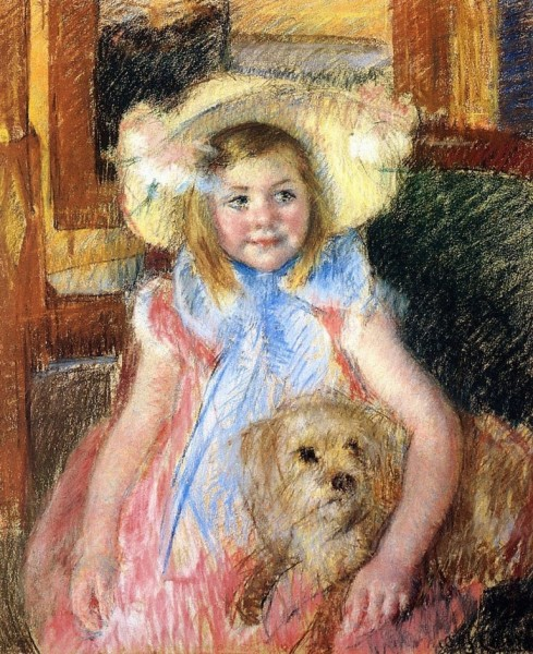 4-c Mary Cassatt (1844-1926) Sara in a Large Flowered Hat Looking Right Holding Her Dog 1901 (2).jpg