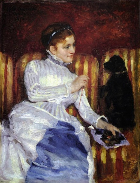 4-c Mary Cassatt (1844-1926) Woman On A Striped With A Dog or Young Woman On A Striped Sofa With Her Dog (2).jpg