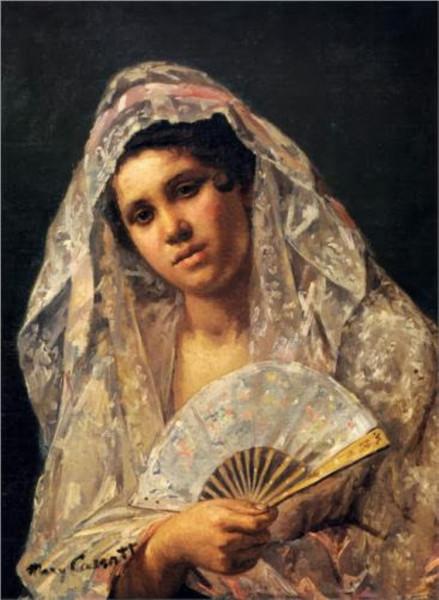 4-Mary Cassatt (American artrist, 1844-1926) Spanish Dancer Wearing a Lace Mantilla 1873.jpg