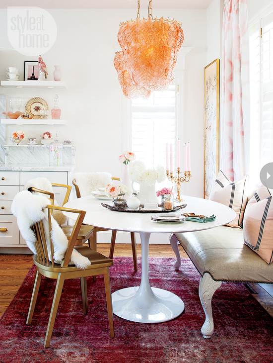 Estilo em casa Feminina de glam casa Interior feminineglam-sala de jantar-