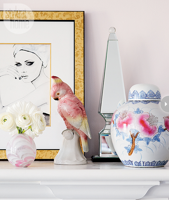 Style At Home Interior Feminine glam home feminineglam-mantel