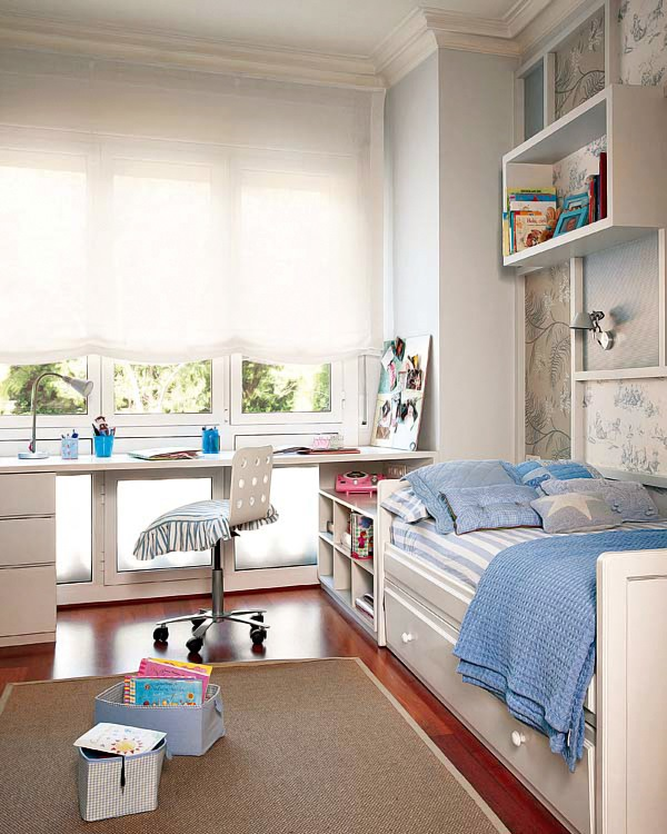 Como distribuir un dormitorio de ni o decorar tu casa es - Como distribuir una habitacion con dos camas ...