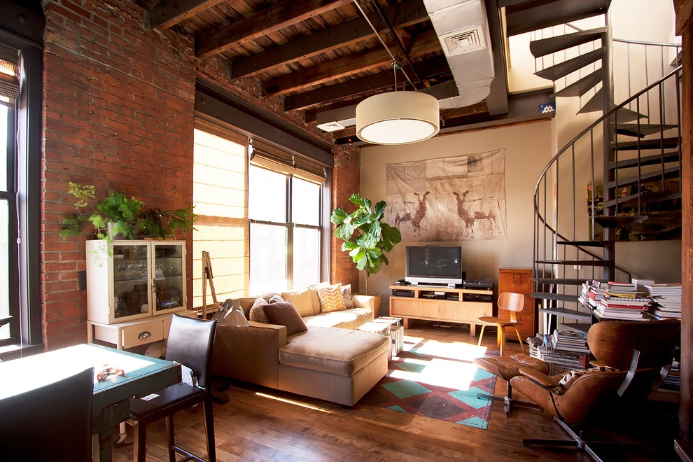 Decordemon industrial loft in brooklyn for Living room brooklyn