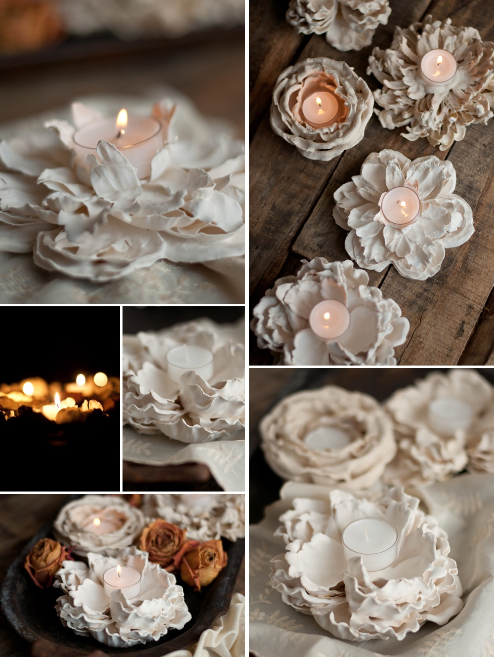 Plaster-Flower-Votives