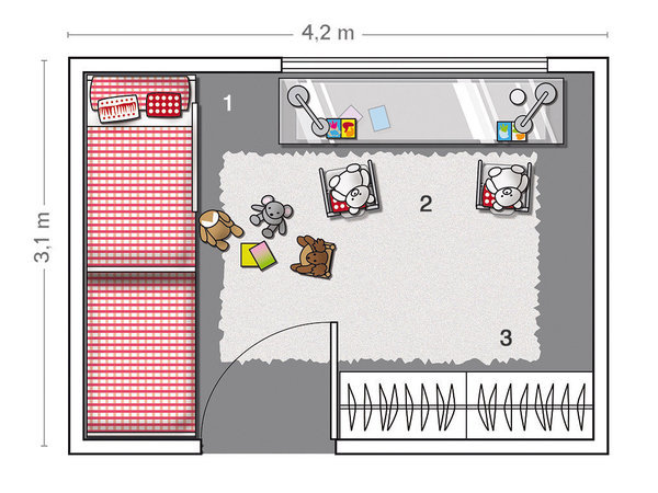 MICASA Un cuarto juvenil con paredes a rayas grises y blancas 7